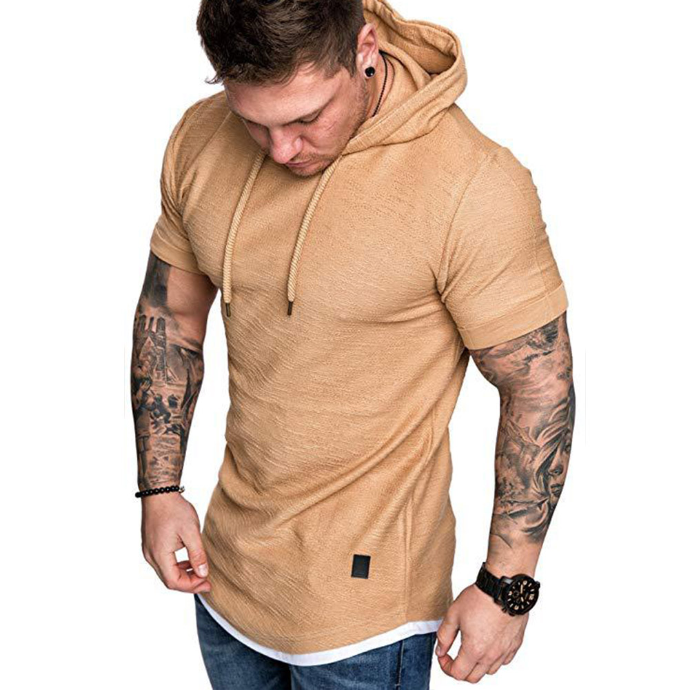 Men Summer Simple Solid Color Hooded Breathable Sports T-shirt Khaki_L