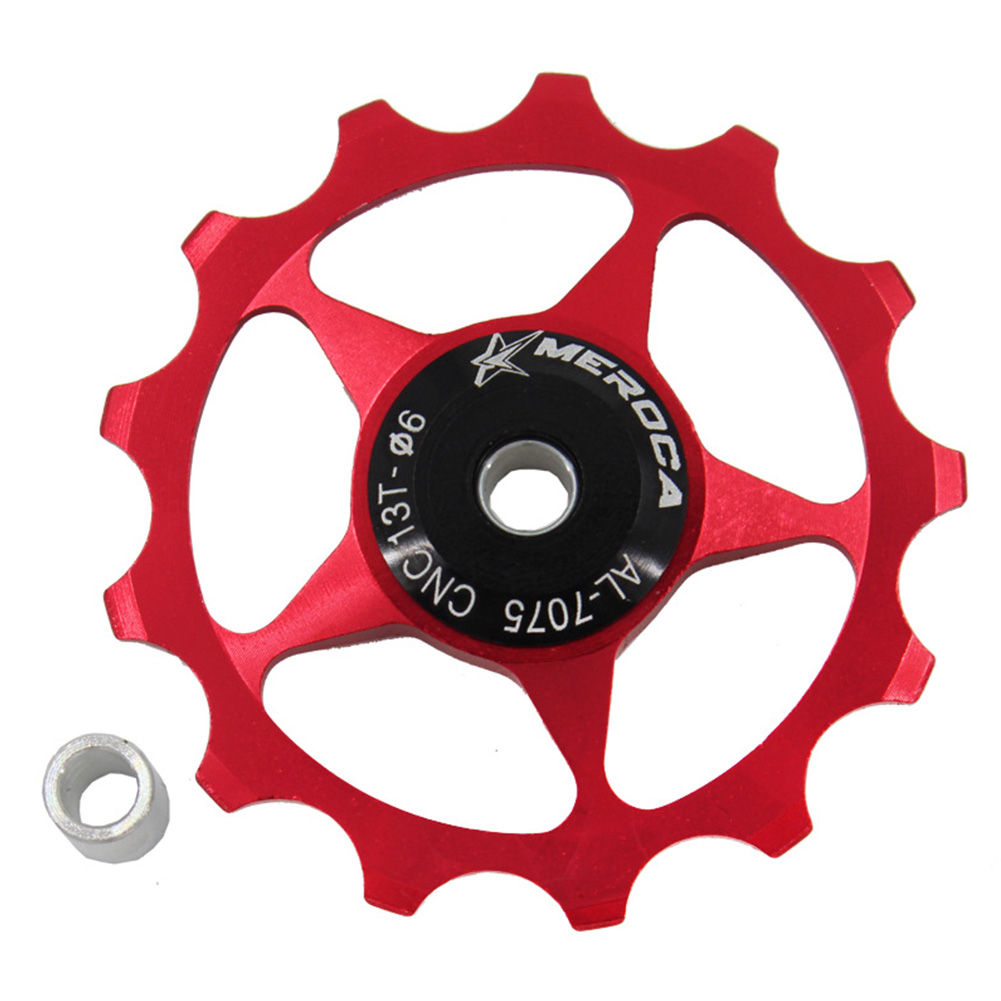 11T/13T Aluminum Alloy MTB Mountain Bike Bicycle Rear Derailleur Pulley Jockey Wheel Road Bike Guide Roller For 7/8/9/10 Speed 13T red
