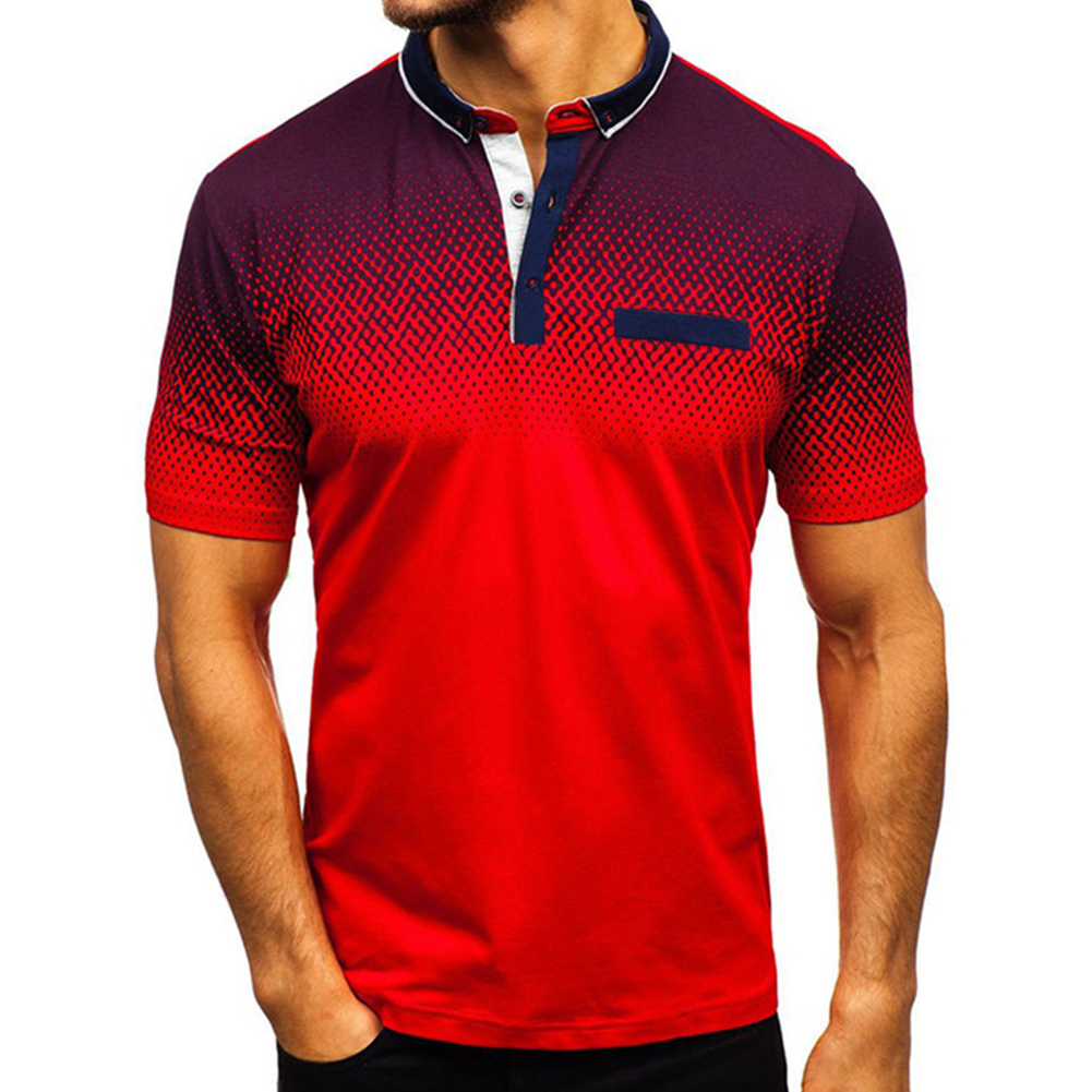 Man Summer 3D Printing Short Sleeves Lapel Polo Shirt  red_XXXL