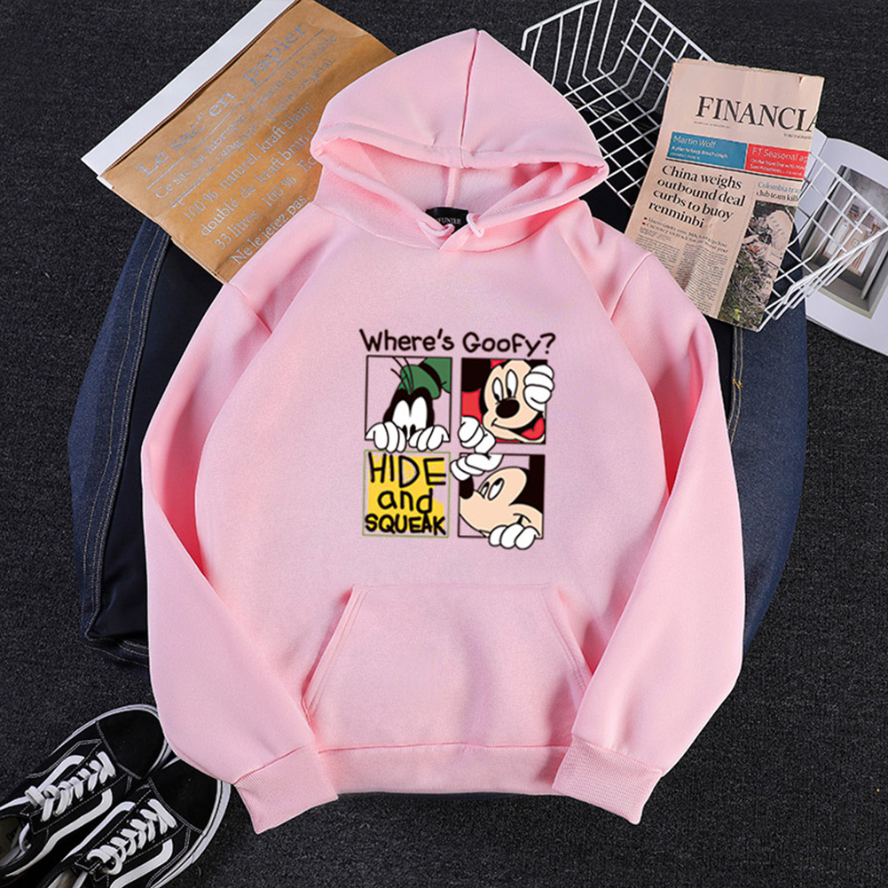 Men Women Hoodie Sweatshirt Cartoon Micky Mouse Thicken Autumn Winter Loose Pullover Pink_XXL