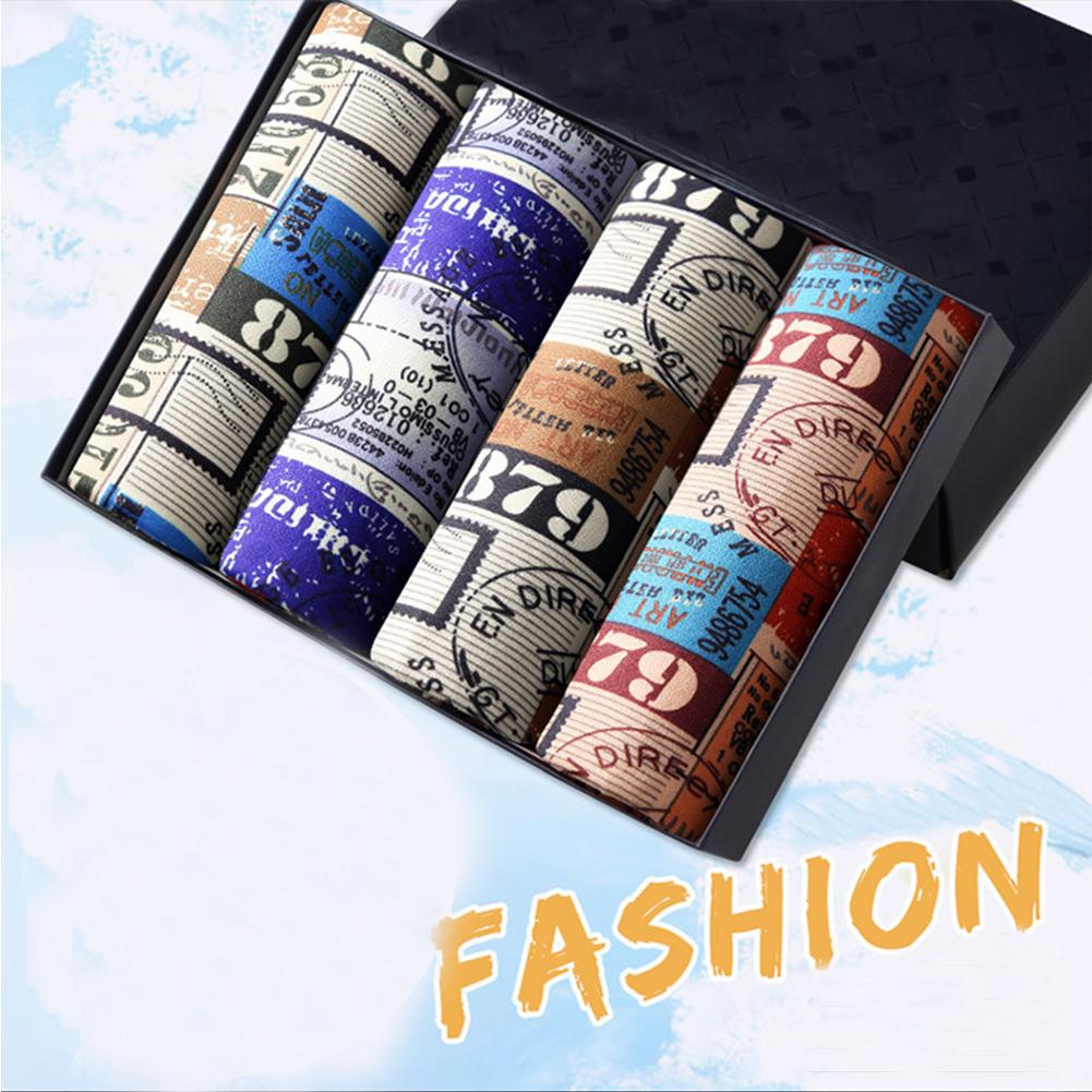 4pcs/set Men Stylish Printing Breathable Soft Boxers with U Convex Design Retro wheel_XL