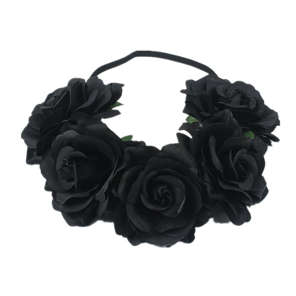 Artificial Flower Garland Rose Love Shape Wreath Headband Silk Rose Wedding Car Decor black