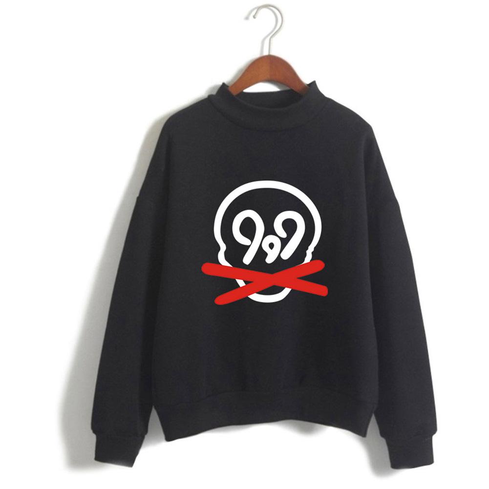Men Women Printed Fashion Casual Turtleneck Sweater Long Sleeve Tops 1#_M