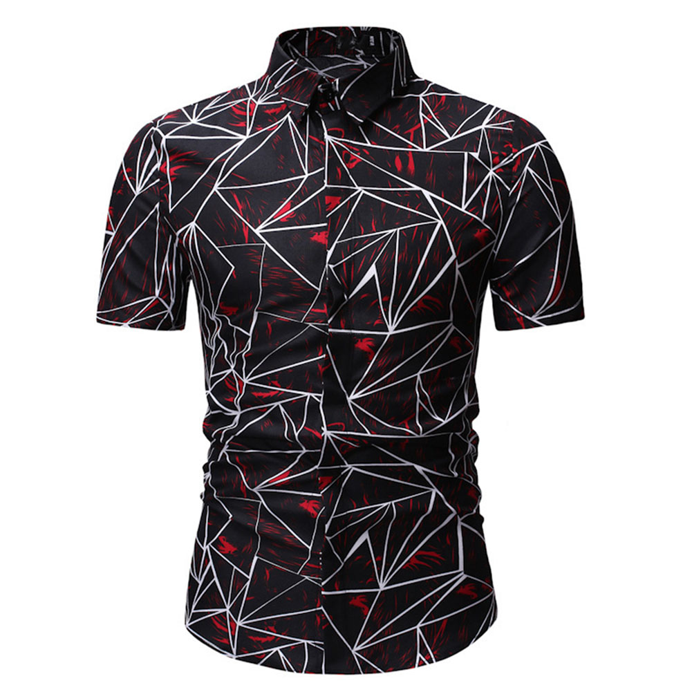 Men Lines Pattern Short Sleeve Shirts Casual Slim Style Tops  Red and white_L