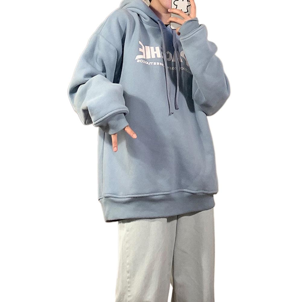 Men Women Hoodie Sweatshirt Printing Letter Fashion Loose Autumn Winter Pullover Tops Blue_L