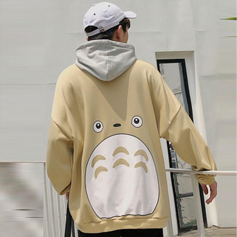 Teenager Lovers Men Women Loose Long Sleeve All Match Hooded Coat Sweatshirts khaki_M