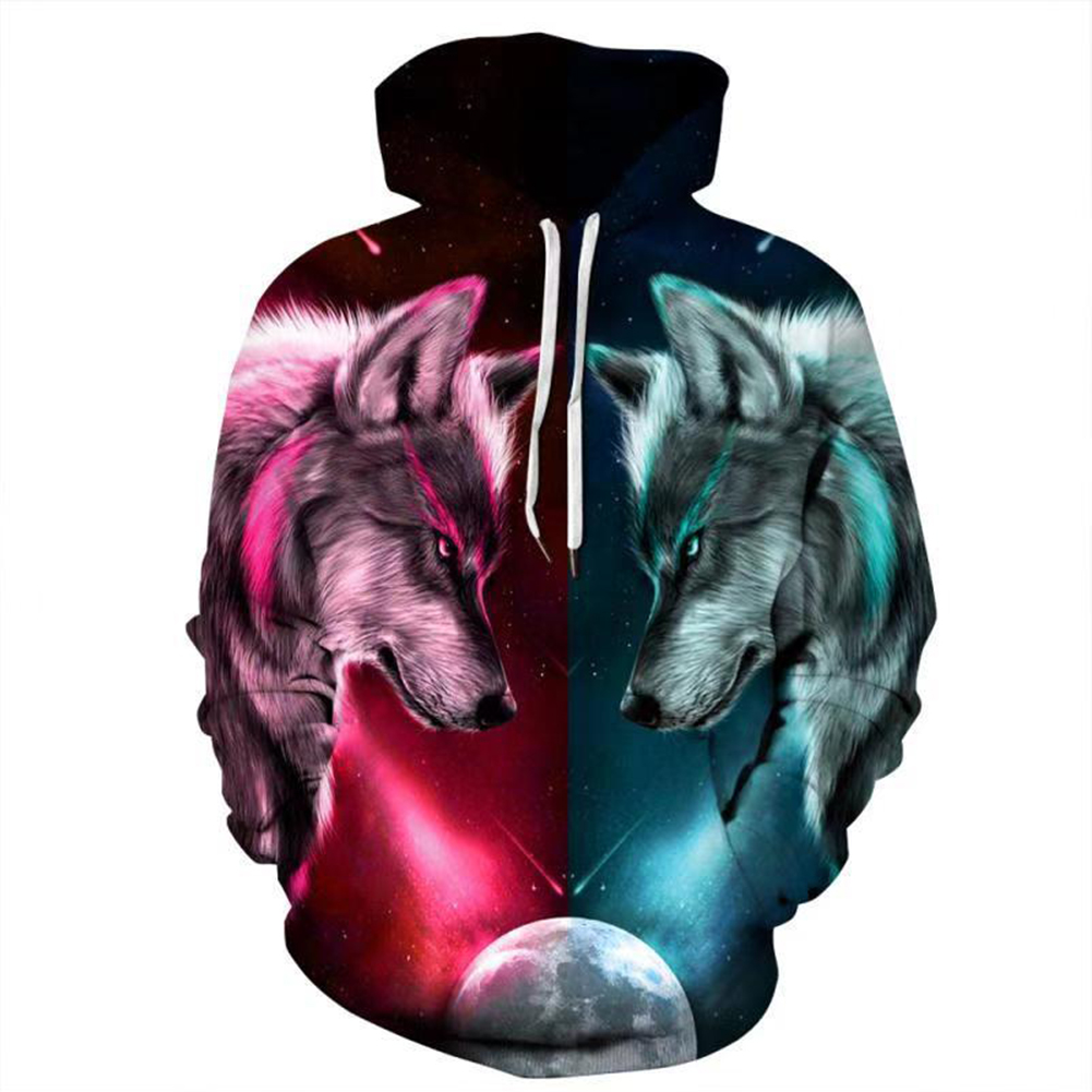 Unisex Casual Couple Wolf Pattern 3D Printing Large Size Fashion Hoody starry sky red and green wolf pattern_S