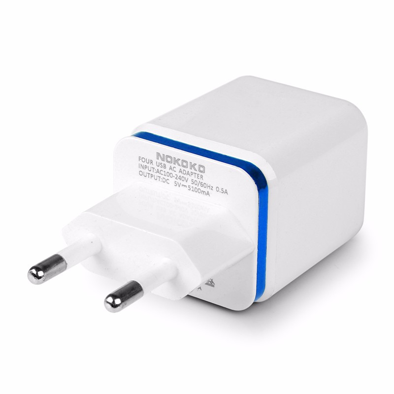 5.1A USB Power Adapter Wall Charger 4 Ports Travel Charger Cube Block blue_EU plug