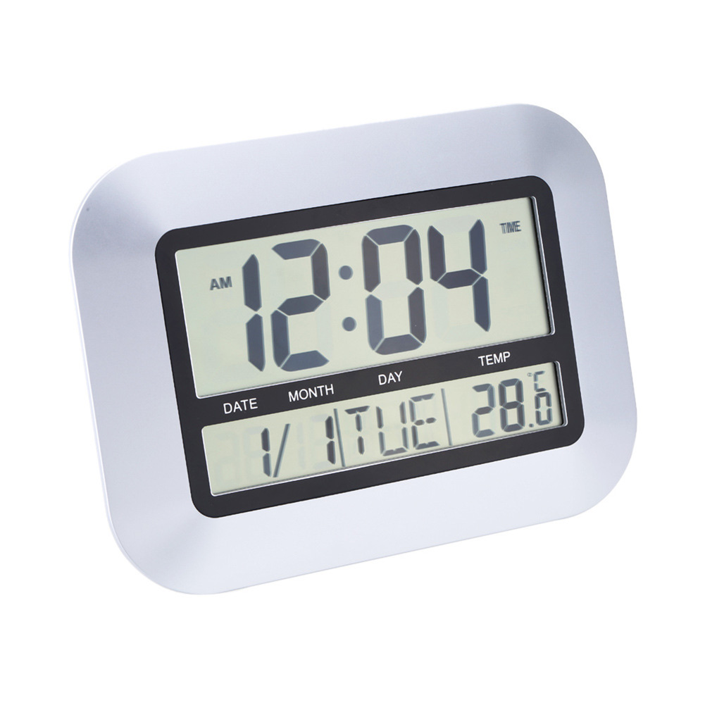 Multifunctional Electronic  Thermometer Digital Wall Clock Calendar Alarm Clock Large Screen Wall Clock as picture show