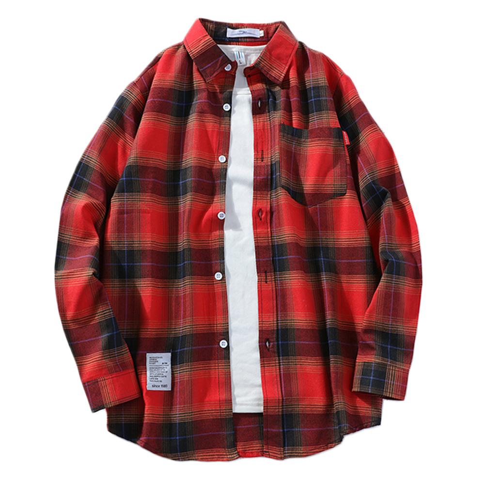 Men's Shirt Casual Long-sleeved Lapel Plaid Pattern Slim Shirt Red _L