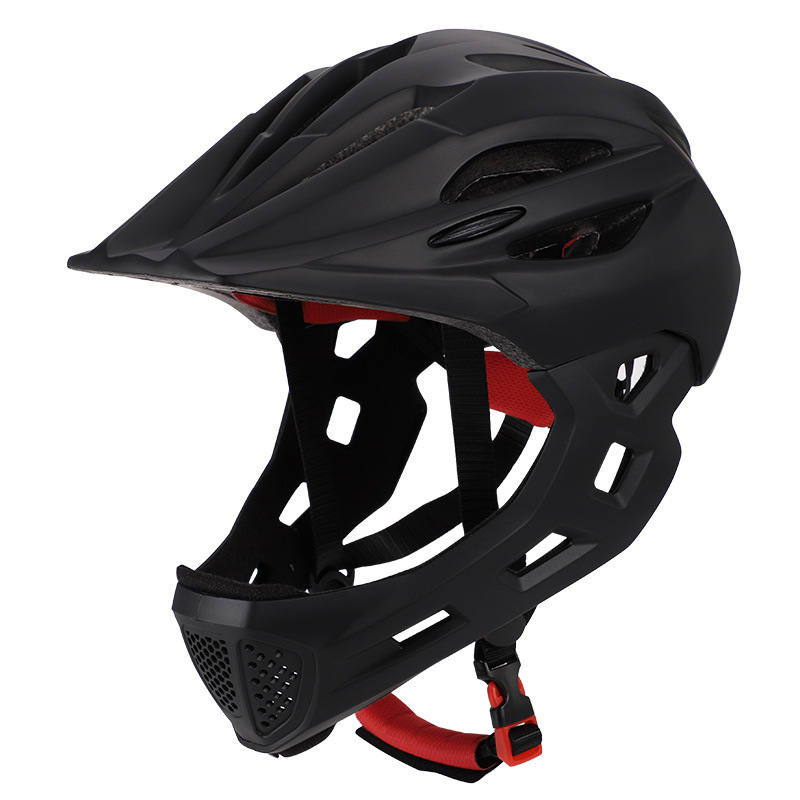 Children Bike Riding 16-Hole Breathable Helmet Detachable Full Face Chin Protection Balance Bicycle Safety Helmet with Rear Light all Black_One size