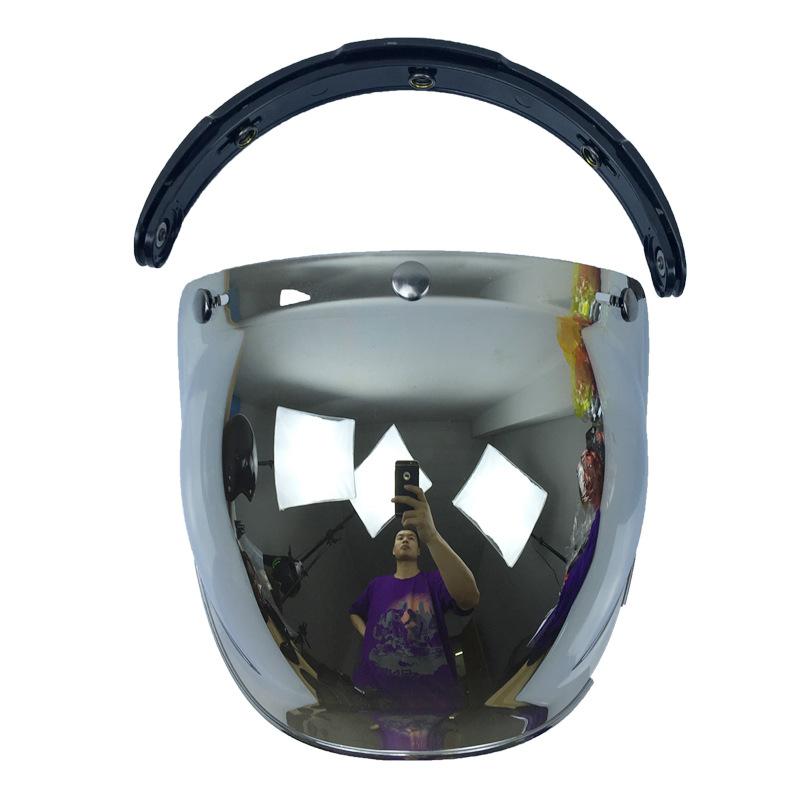 Motorcycle Helmet Glass Flip Up Helmet Bubble Shield Helmet Lens Silver plating