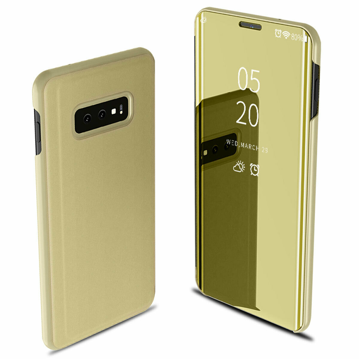 For Samsung Galaxy S10/S10 Plus/S10E Smart Leather Flip Mirror 360 Phone Case Cover Gold