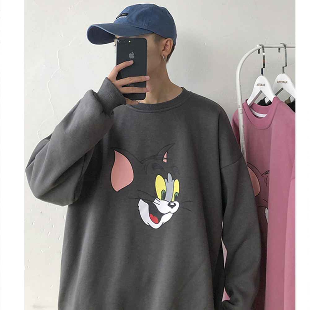 Men Women Cartoon Sweatshirt Tom and Jerry Crew Neck Printing Loose Pullover Tops Dark gray_L