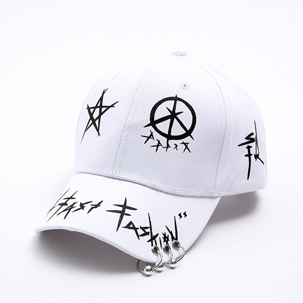 Men Women Baseball Cap with Ring Hip Hop Fashion Pattern Hat  white_white
