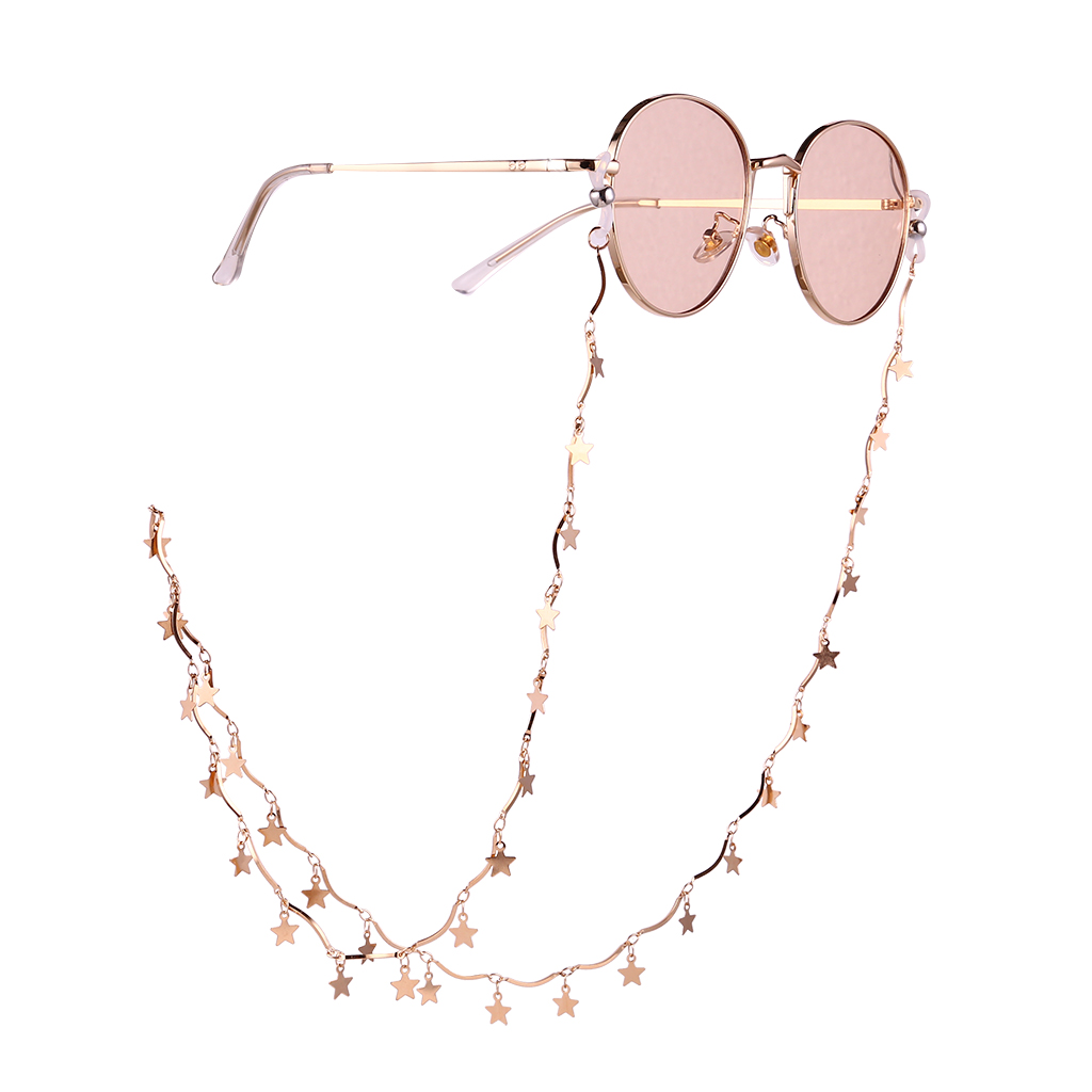 Wholesale Stylish Stars Glasses Chain Hanging Neck Anti Falling Sunglasses Eyeglass Cord Necklace Gold From China