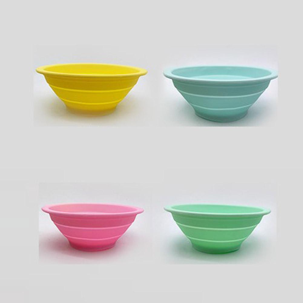 Foldable Drain Basket Colander Fruit Vegetable Washing Basket Strainer Collapsible Drainer Kitchen Tool yellow