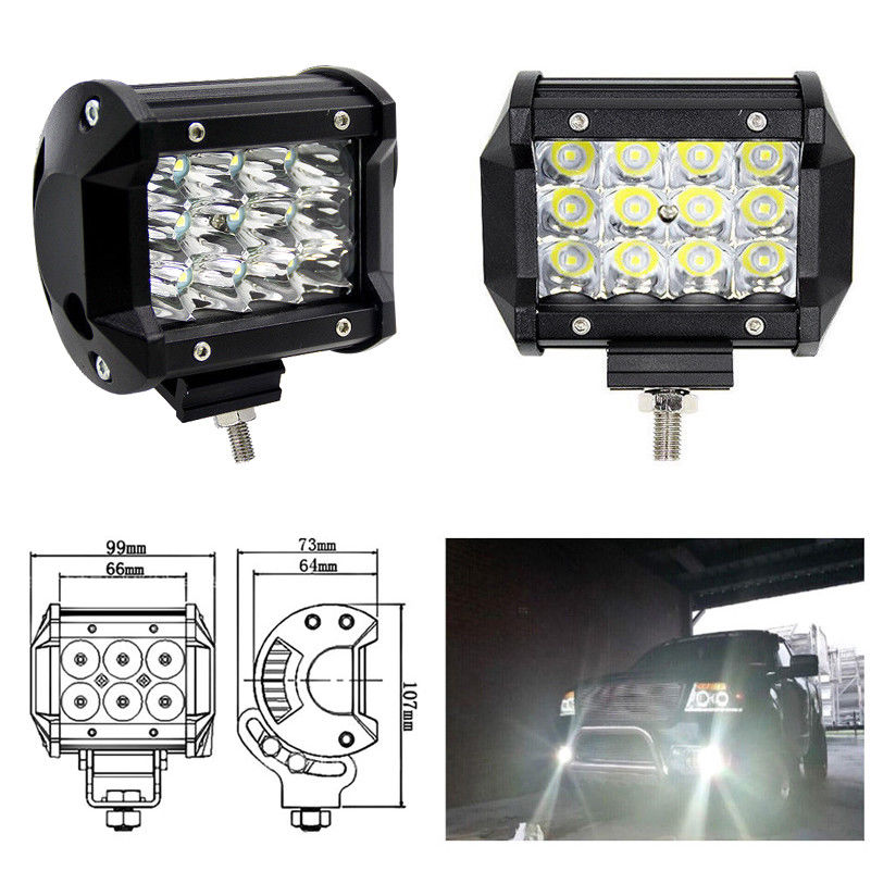 36W LED Work Light Bar Beam Spot Offroad Driving Fog Lamps for SUV ATV  black