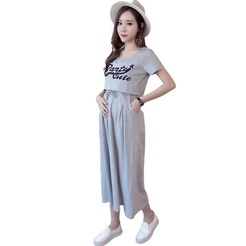 Pregnant Women Summer Short-sleeve Long-section Dress  light grey_XXL