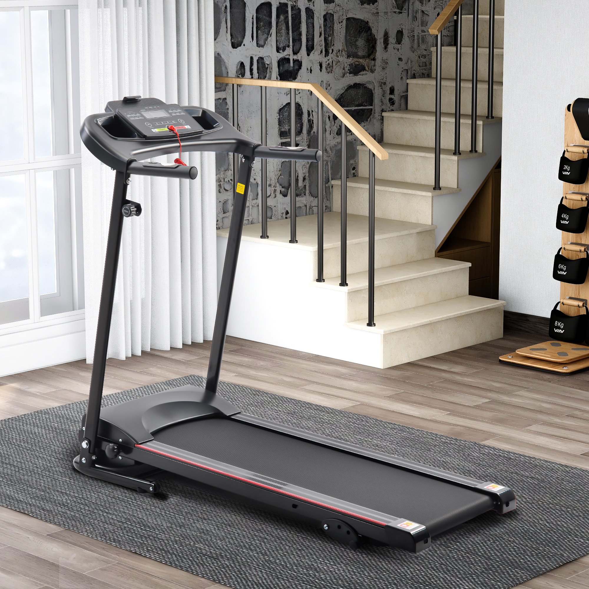 [US Direct] Krd-Jk1609A Folding Electric Treadmill Running Machine For Home Black With 3 Manual Inclines