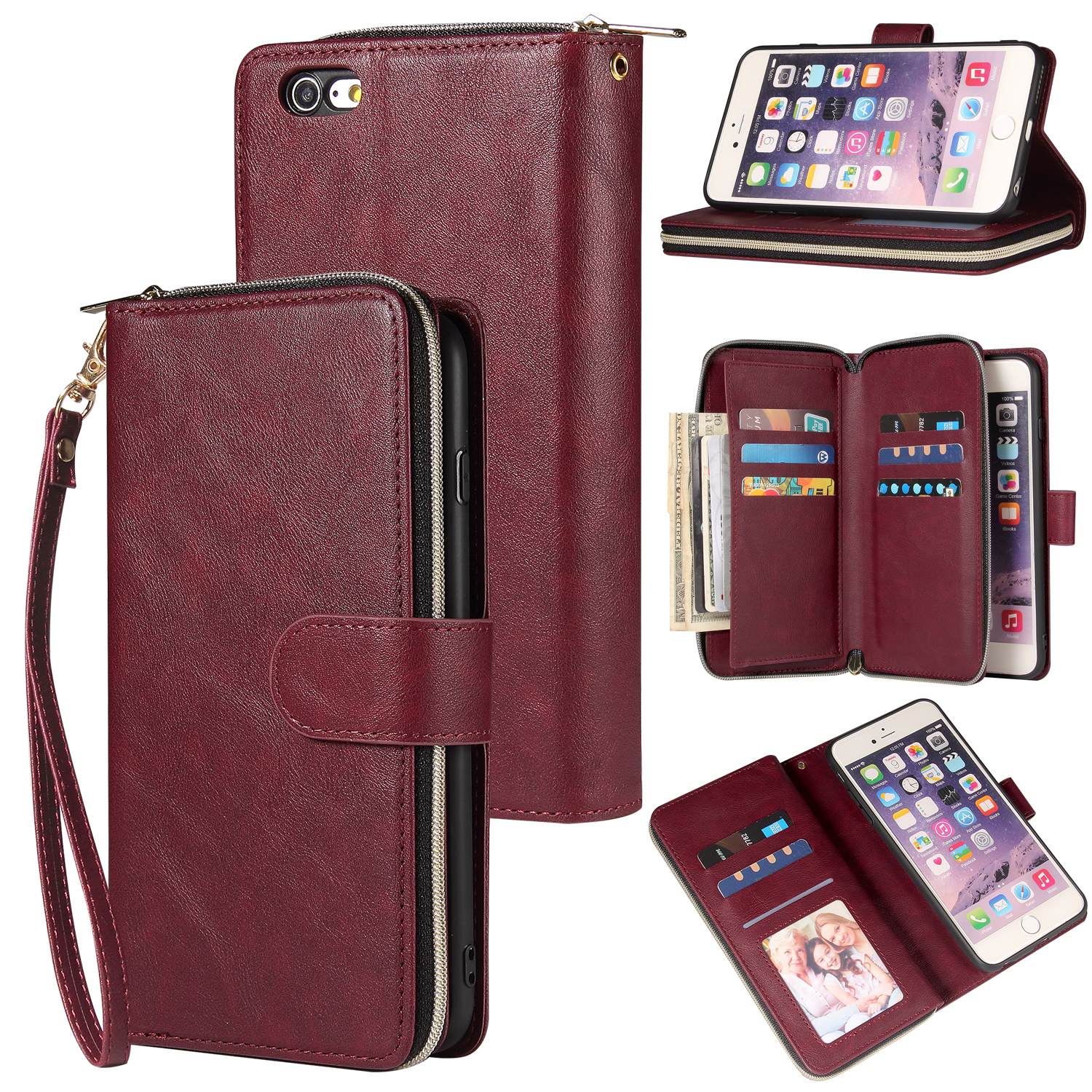 For Iphone 6/6s/6 Plus/6s Plus/7 Plus/8 Plus Pu Leather  Mobile Phone Cover Zipper Card Bag + Wrist Strap Red wine