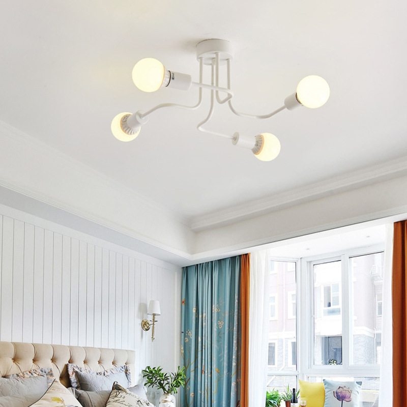 LED Retro Wrought Iron Ceiling Light 4 Heads Lamp for Home Restaurant Dinning Cafe Bar Room Decor white_Warm white light with light source