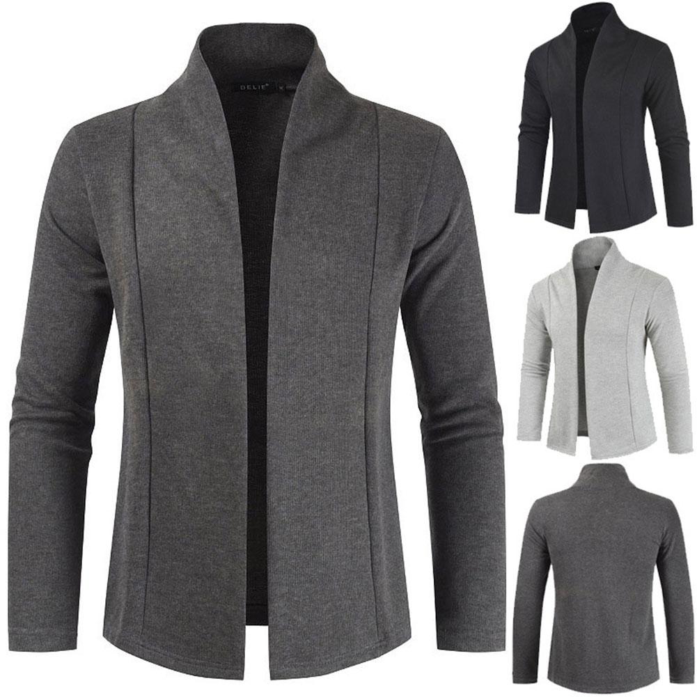 Men Simple Cardigan Slim Sweater Jacket Men V-collar Sweater Dark gray_L