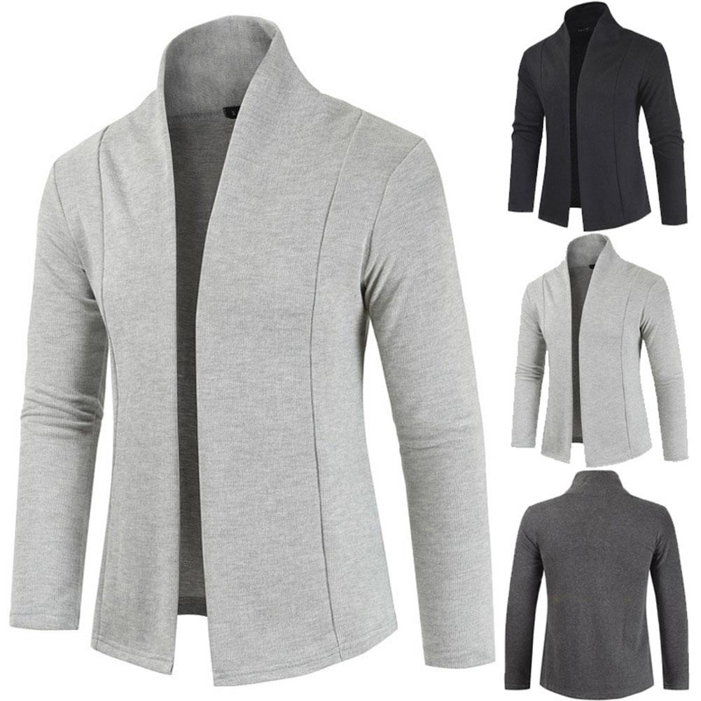 Men Simple Cardigan Slim Sweater Jacket Men V-collar Sweater light grey_XL