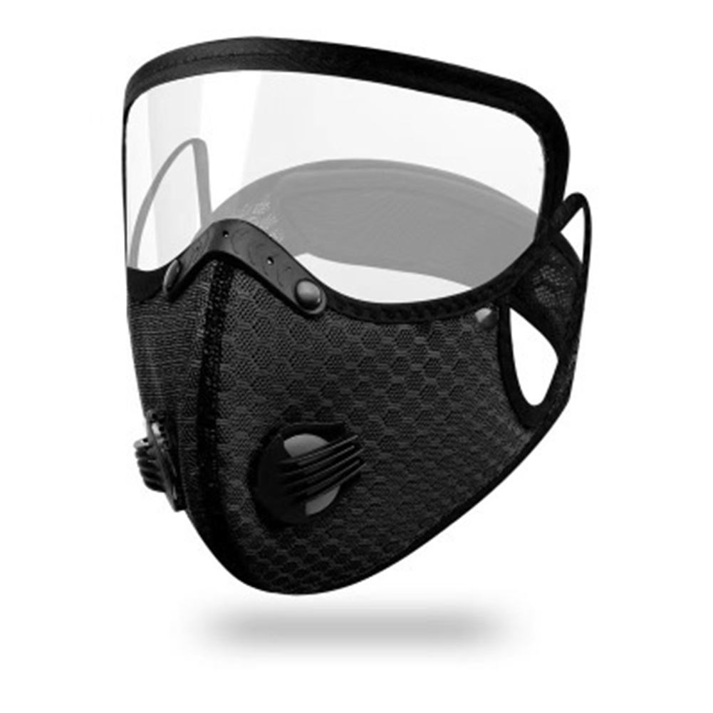 Cycling  Face  Mask Goggles Mask Outdoor Anti-fog Dust-proof Breathable Mask Black (with eye mask)