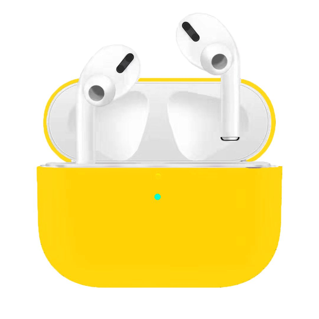 Silicone Earphone Case For Airpods Pro Shockproof Cases For Apple Bluetooth Headset Protective Cover yellow