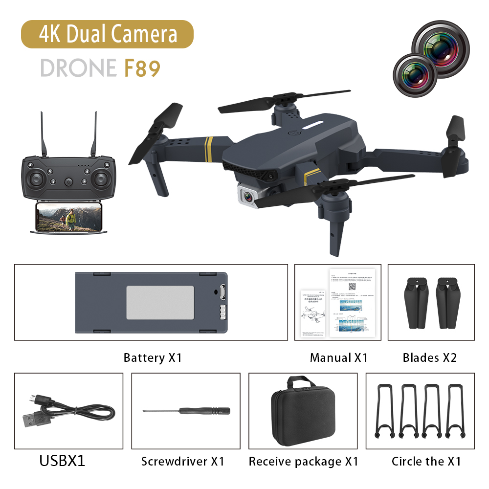 F89 Drone 4k Dual-camera Long Endurance Aircraft E58 Fixed Altitude Rc Aircraft Dual camera switch 4K pixels