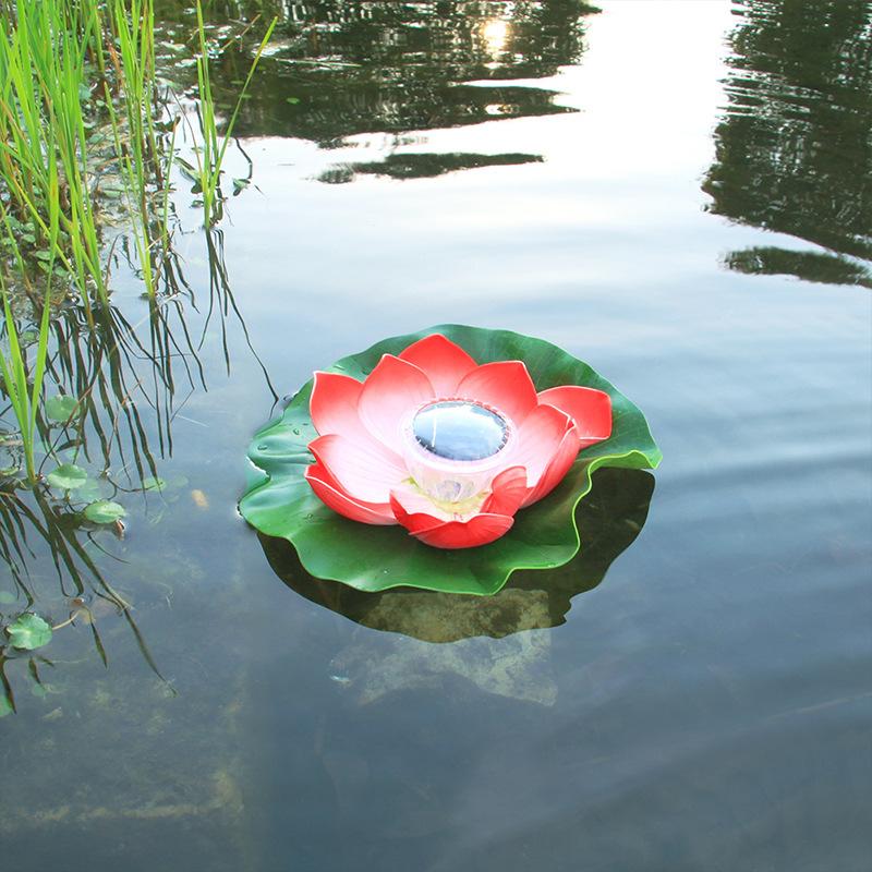 Solar Powered LED Flower Light Lotus Shape Floating Pond Garden Pool Lamp bright red
