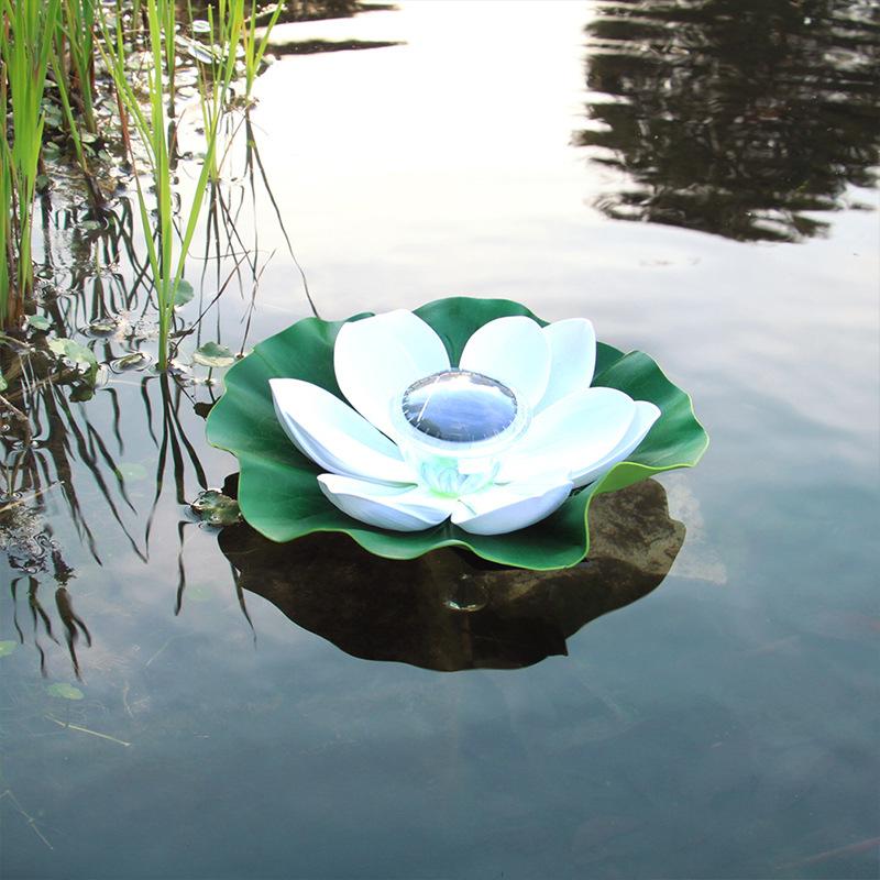 Solar Powered LED Flower Light Lotus Shape Floating Pond Garden Pool Lamp white