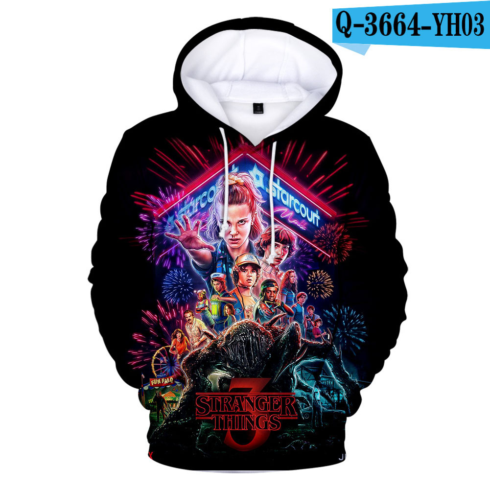 Fashion 3D Colour Printed Unisex Hoodies Stranger Things  As shown_2XL