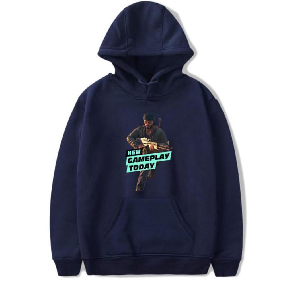 Men Fashion Game Figure Printing Hooded Sweatshirt Navy blue A_XL
