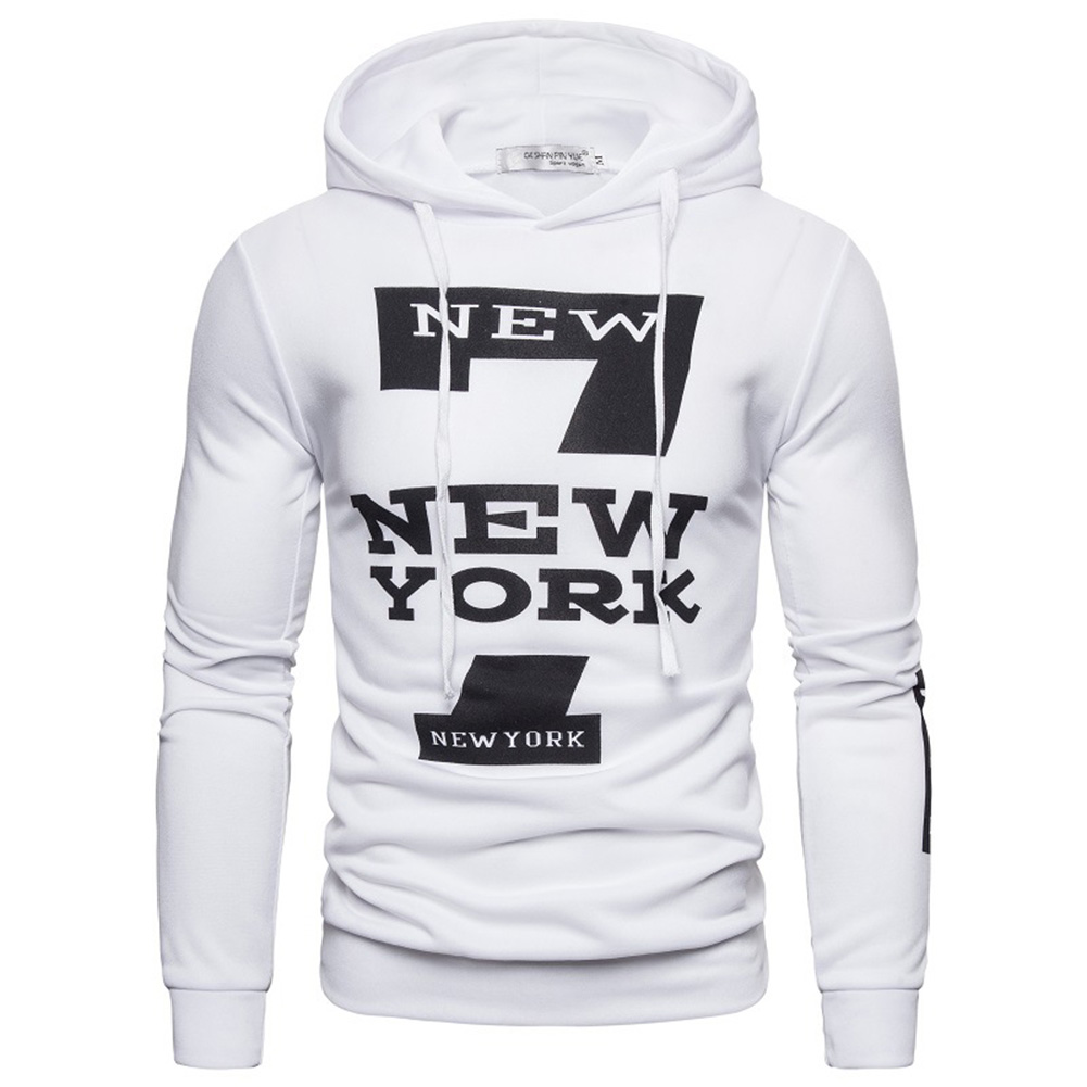 Men Hoodie Sweatshirt New York 7 Printing Drawstring Loose Male Casual Pullover Tops White_XL