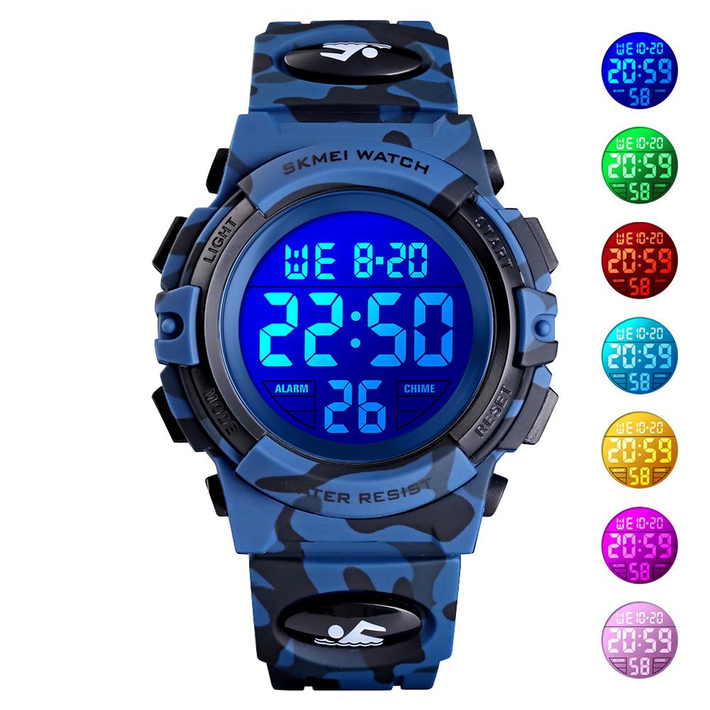 Original SKMEI Kid Digital Sports Watch Colorful LED Date Week EL Light Waterproof Alarm Camouflage Wristwatch Dark blue