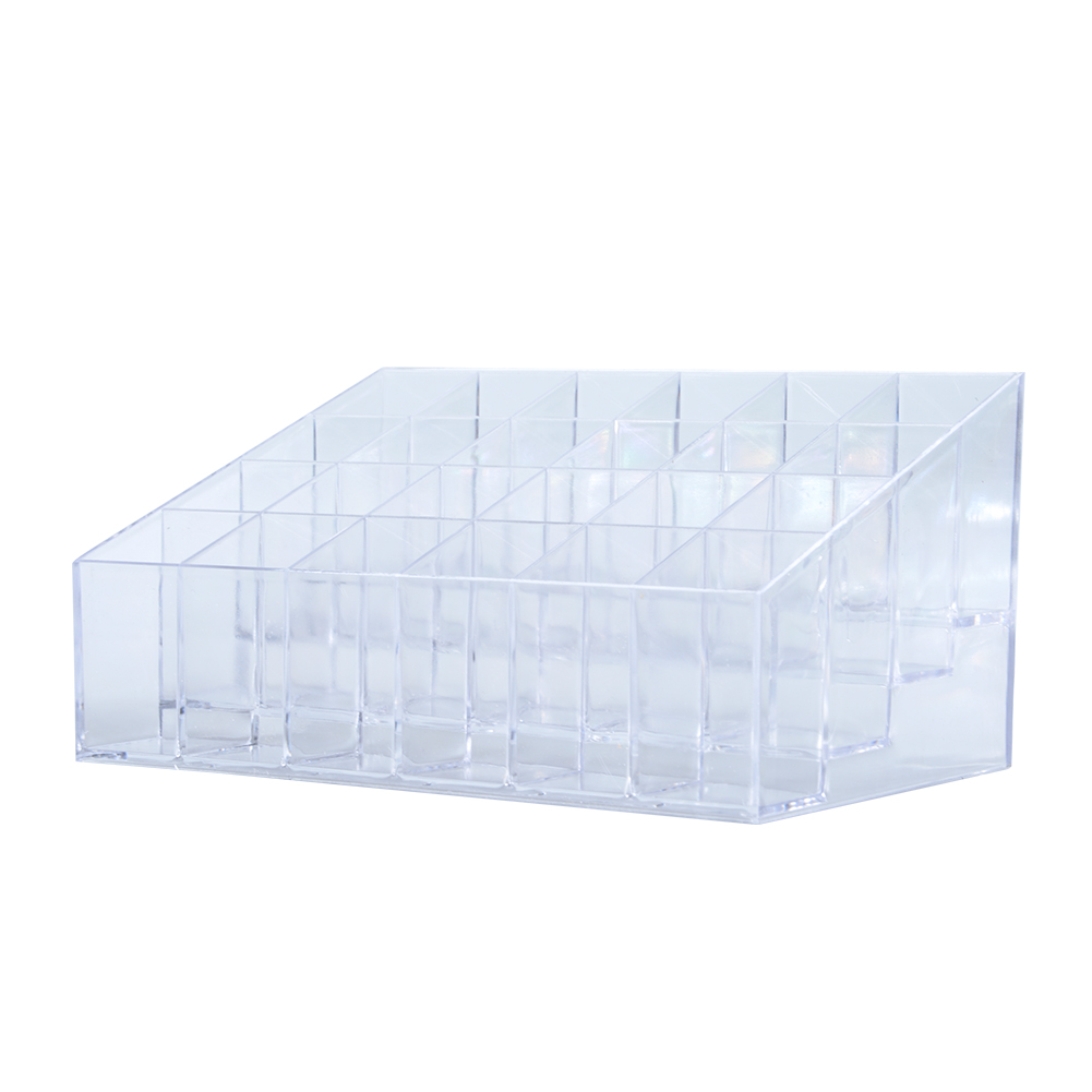 [EU Direct] 24 Stand Transparent Plastic Trapezoid Acrylic Makeup Cosmetic Organizer Display Stand