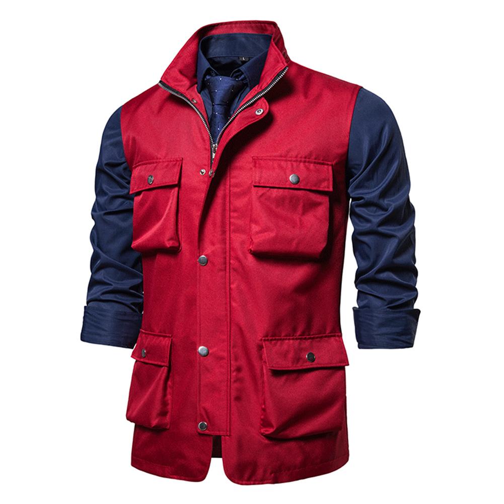 Men's Vest Autumn and Winter Casual Multi-pocket Solid Color Vest Red_L