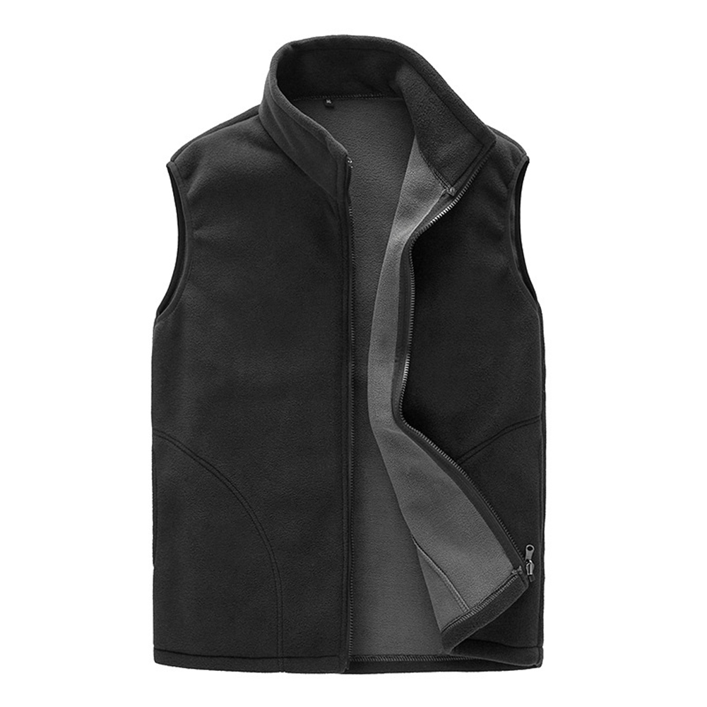 Men Warm Full Zip Casual Fleece Vest