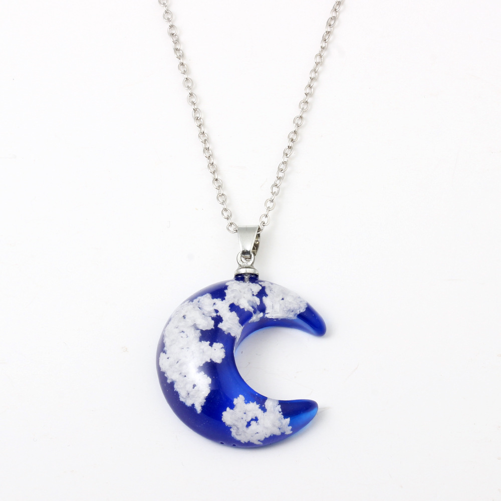 Necklace Fashion Handmade Transparent Moon Shape Resin Pendant Clavicle Necklace with Blue Sky and White Cloud Forest Silver