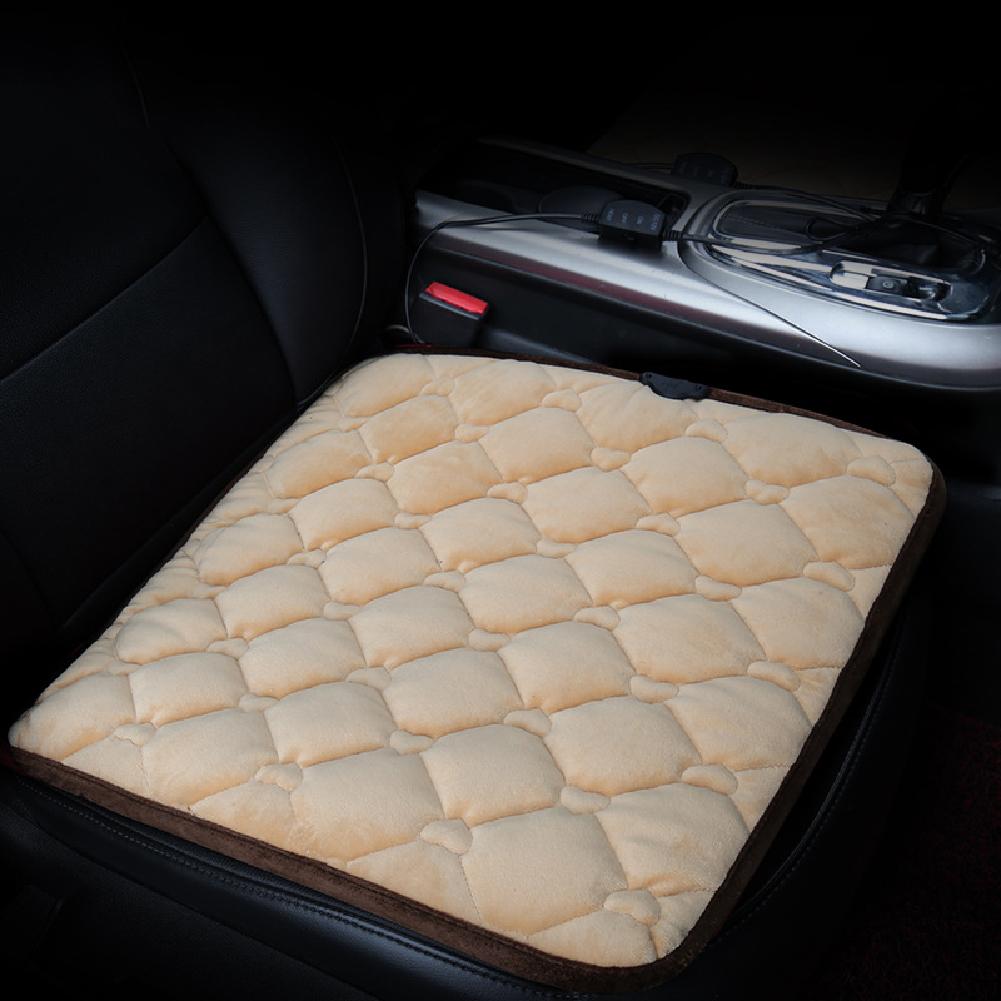 50*53CM 12V Car Seat Heater Plush Electric Heated Seats Interior Accessories Love Beige