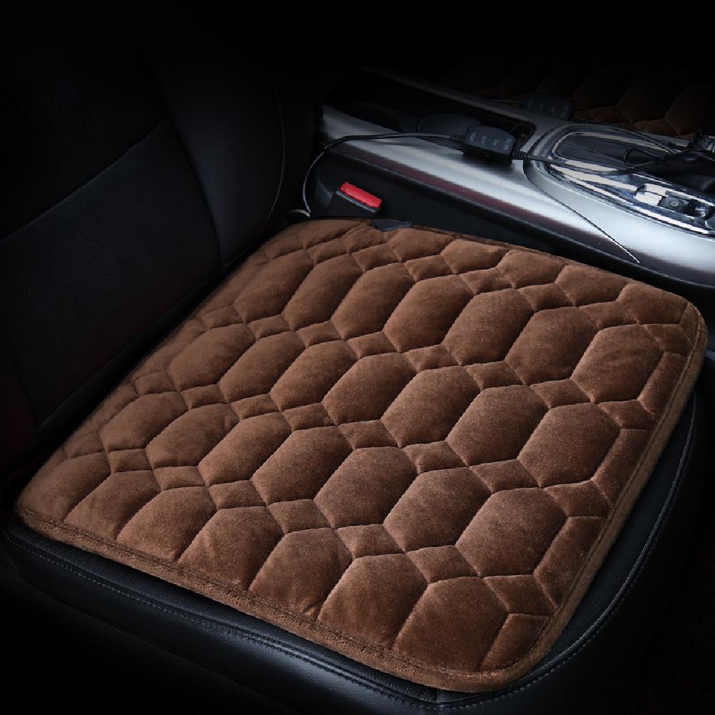 50*53CM 12V Car Seat Heater Plush Electric Heated Seats Interior Accessories Diamond Brown