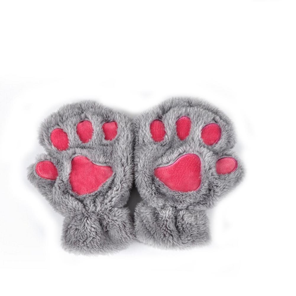 [EU Direct] Women Cute Cartoon Cat Claw Gloves Winter Fingerless Bear Paw Half Finger Gloves