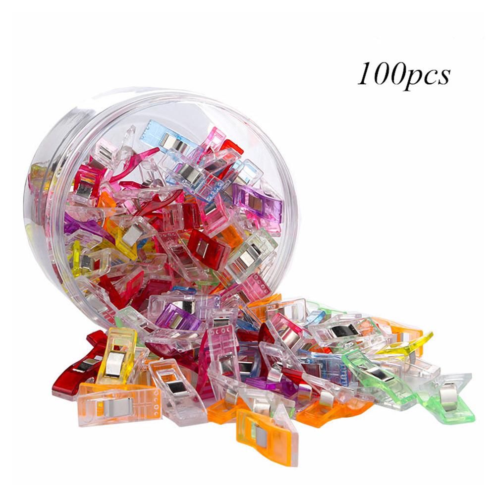100pcs/box Sewing Clips Multicolor Plastic Hemming Positioning Tools DIY Sewing Accessories Color mixing_100 pcs / box