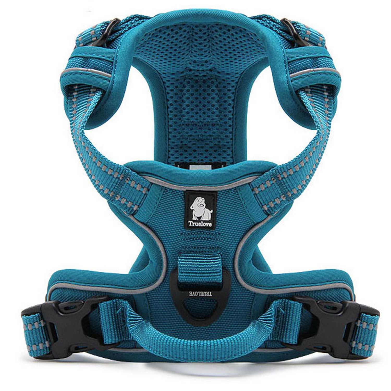 [US Direct] Original Truelove Reflective Dog Harness, Adjustable Pet Vest, Comfortable and Soft Mesh Materials (XL, Blue) Blue_XL