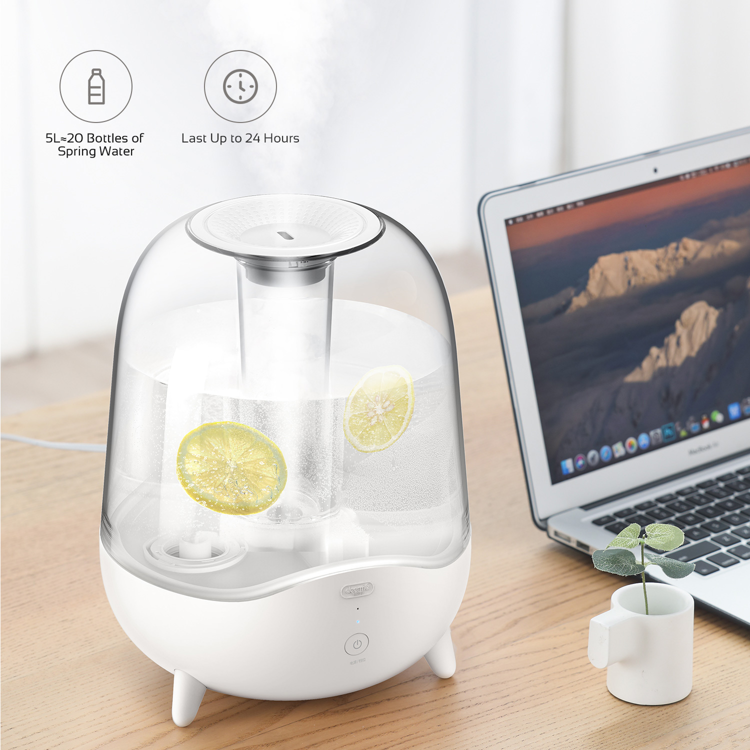 [US Direct] Original DEERMA 5L Ultrasonic Cool Mist Humidifier for Bedroom, Large Room, Office, Baby with Crystal Clear Transparent Water Tank White