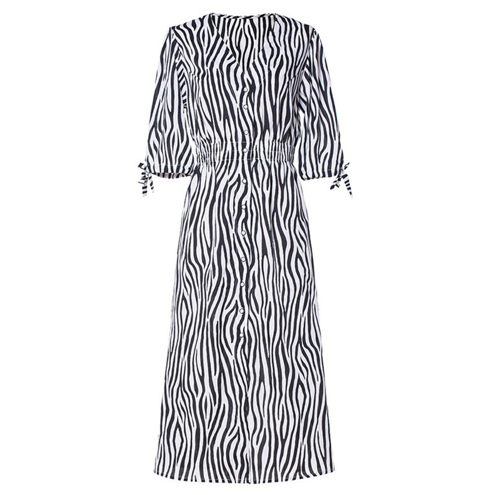 Women Sexy V-neck Split Stripe Dress