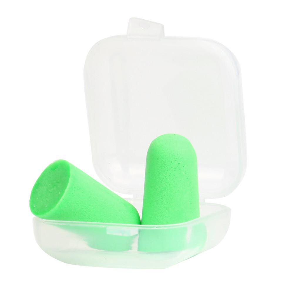 Slow Rebound Sponge Ear Plugs Soft Ear Plugs Tapered Travel Sleep Noise Prevention Earplugs Green 1 pair