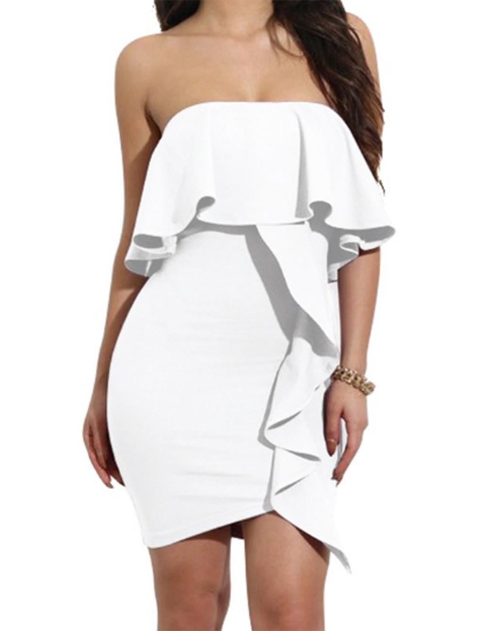 Women Sexy Off Shoulder Sleeveless Slim Dress One-piece Skirt